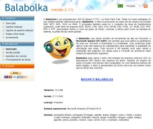 Imagem website Balabolka