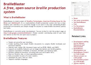 Imagem website BrailleBlaster