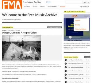 Imagem do website Free_music_archive