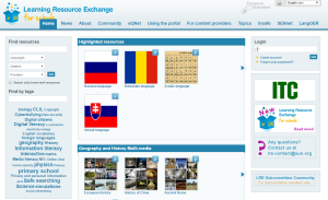 Imagem do website Learning Resource Exchange da European Schoolnet