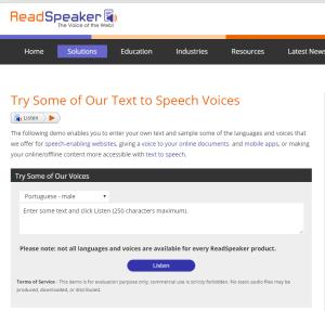 Imagem website  ReadSpeaker