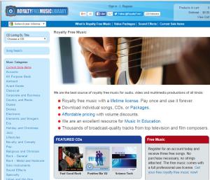 Imagem do website royalty free music library