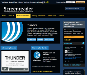 Imagem website Screenreader_thunder