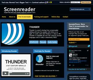 Imagem website Screenreader_thunder